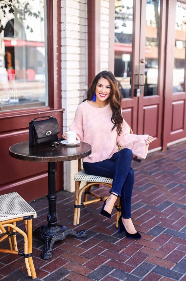 Pink Tiered Sleeve Sweater