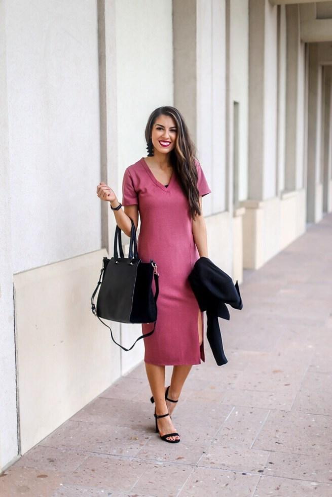 Pink V Neck T Shirt Dress