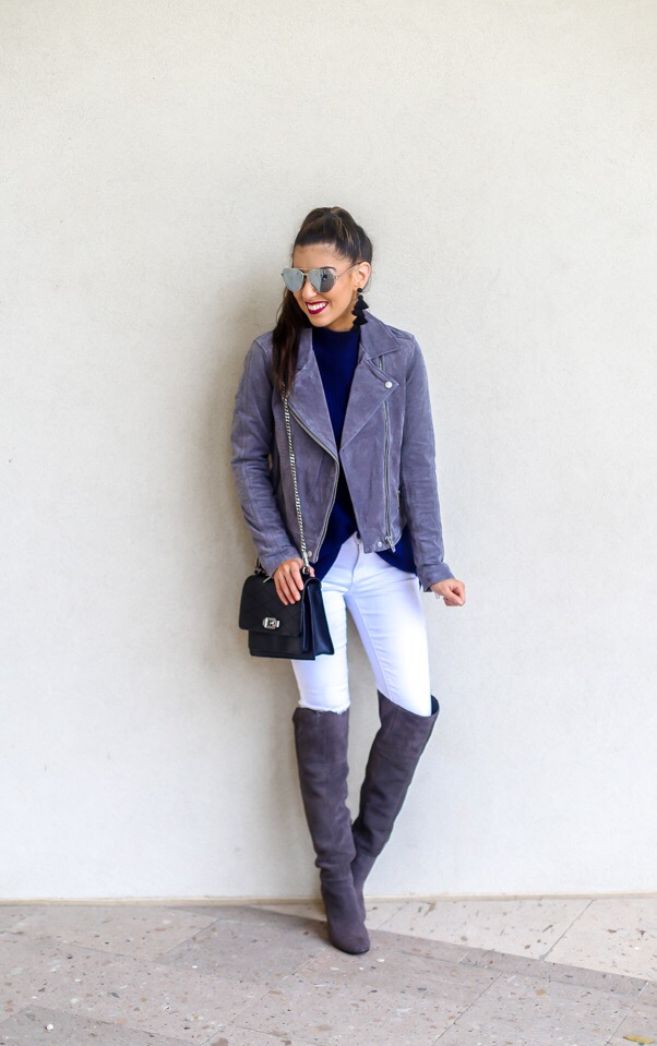 Silver Suede Jacket and White Denim Style