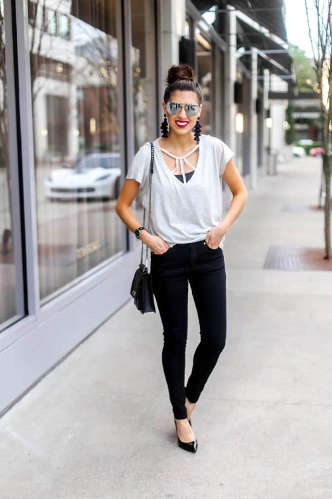 Strappy Tee and Black Denim Jean