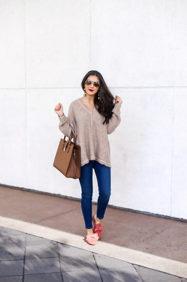 V Neck Cozy Sweater and Denim Style