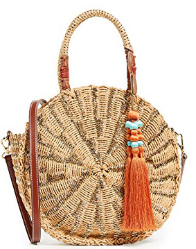 Round straw purses for summer