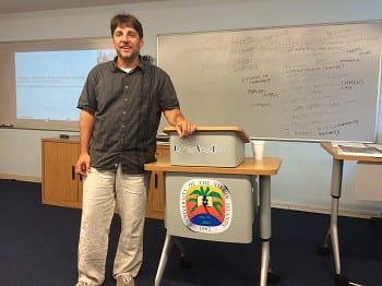 Steve lecturing in a classroom provided by the University of the Virgin Islands.
