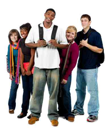 A group of happy college students holding backpacks