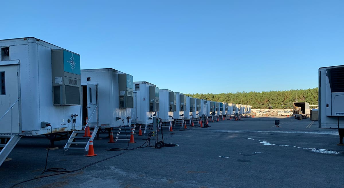 Sleeping trailers were brought in and lined up on the SGTC Americus campus for those workers able to catch a few hours of sleep before returning to their task.