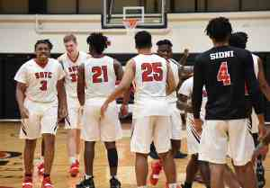 Jets players were congratulating each other after they took a big win over Gordon College Wednesday.
