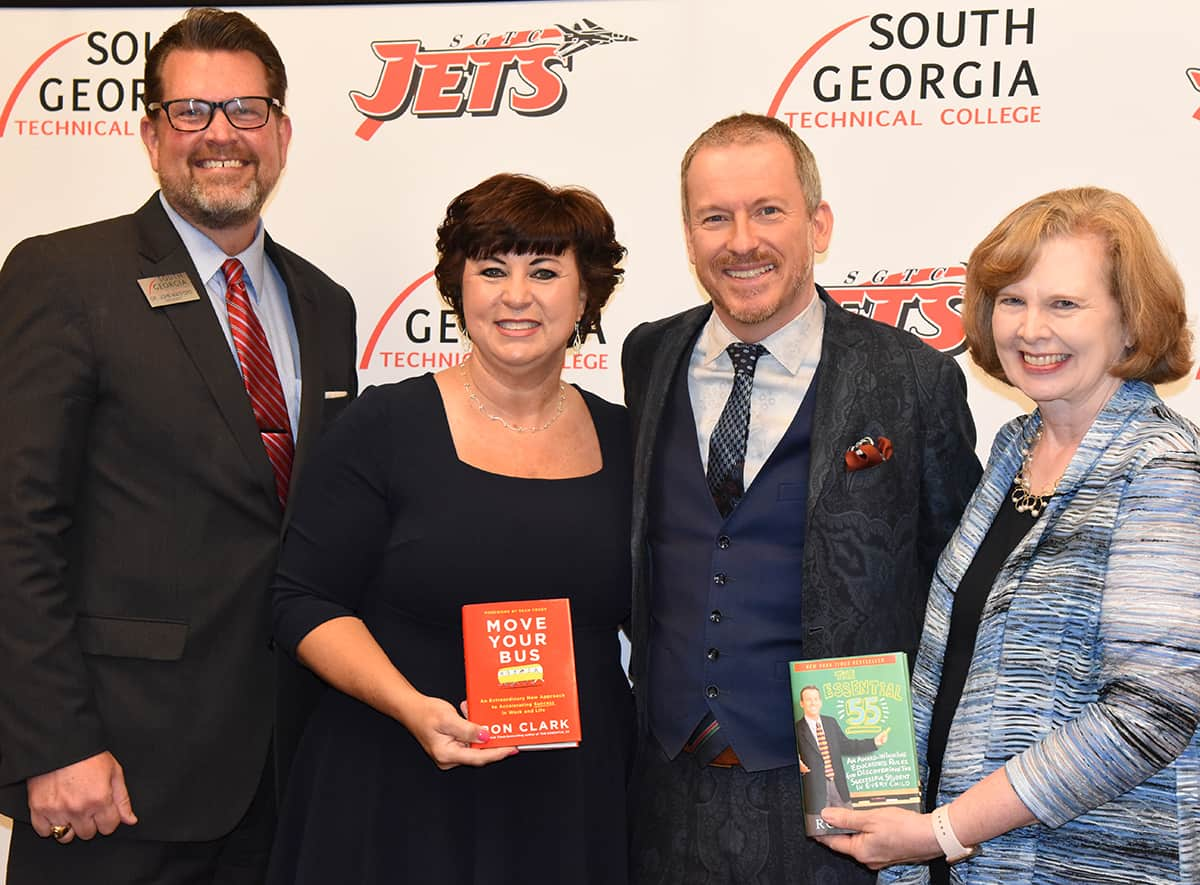 South Georgia Technical College President Dr. John Watford and his wife, Barbara, a retired Sumter County Schools Principal, and Dr. Lettie Watford, a retired GSW Professor, are shown above with Ron Clark.