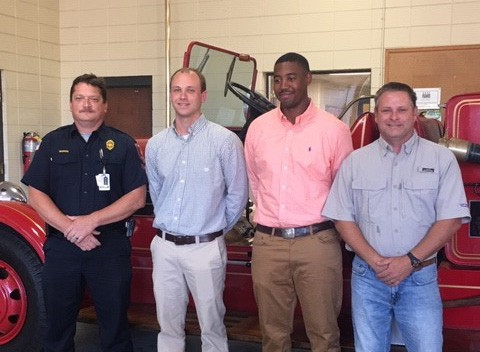 New Americus Fire Department firefighters Clemons and Eason are pictured with their SGTC instructors, Capt. Stephen Morris and Engineer Todd Shufflebarger.