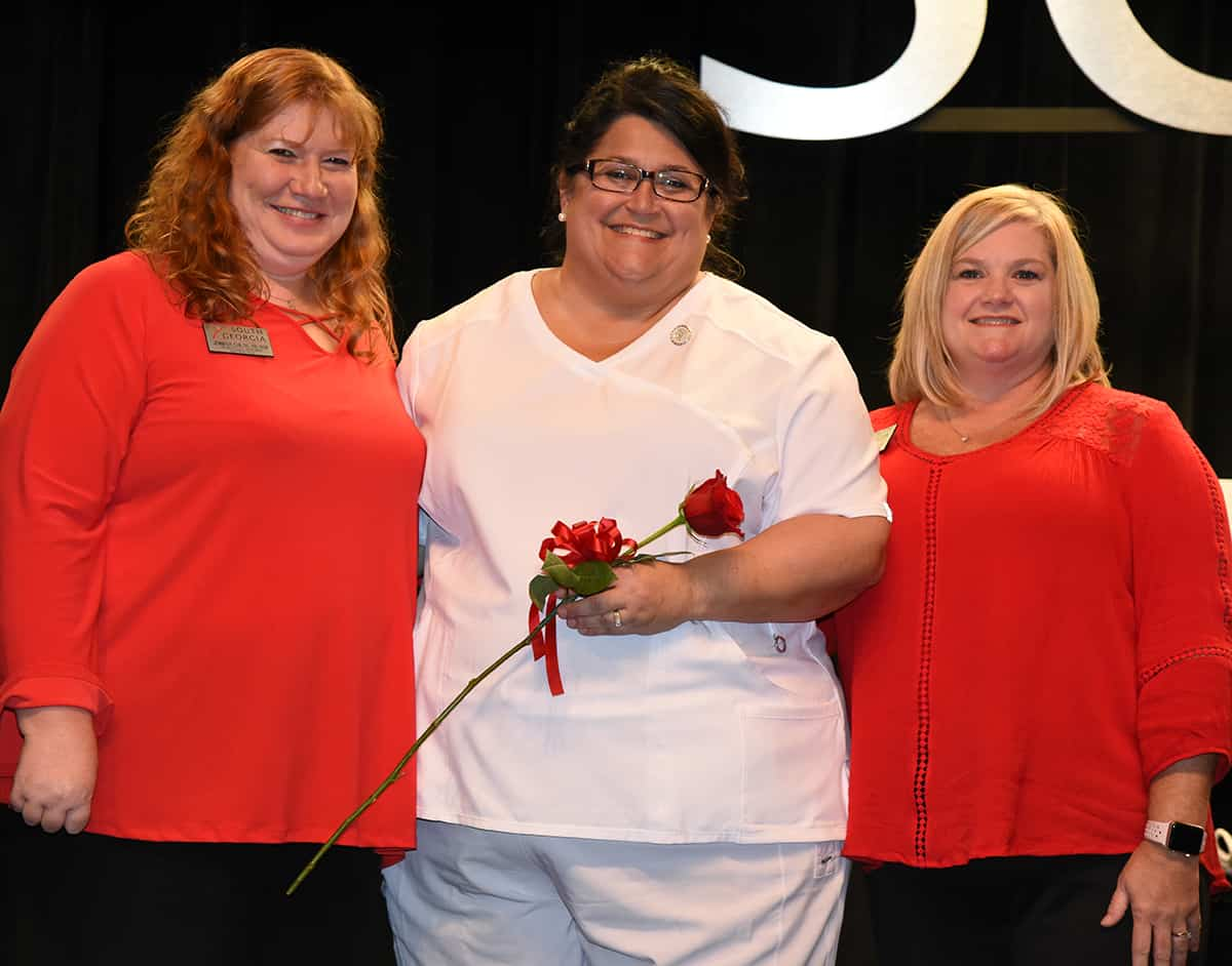 Richelle Bivins was the class speaker at the Summer 2019 Pinning Ceremony for the Americus graduating class.  She is shown above with SGTC Instructors Jennifer Childs and Christine Rundle.