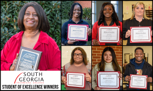 SGTC Student of Excellence overall winner Eva Porter (left) and nominees (top row) Jamesia Monts, Damiya Hall, Dawn Ammons, (bottom row) Katelin Bloodworth, Elizabeth Guerrero, and Tymothy Mitchell.