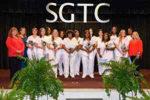 Pictured are the graduates of SGTC's LPN program with their instructors (l-r) Jennifer Childs, Leeandra Ward, and Christine Rundle.
