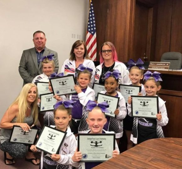 Bellmawr Purple Eagles Tiny Division Cheerleader Squad