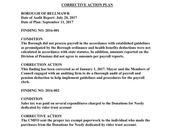 2016 Borough of Bellmawr Corrective Action Plan