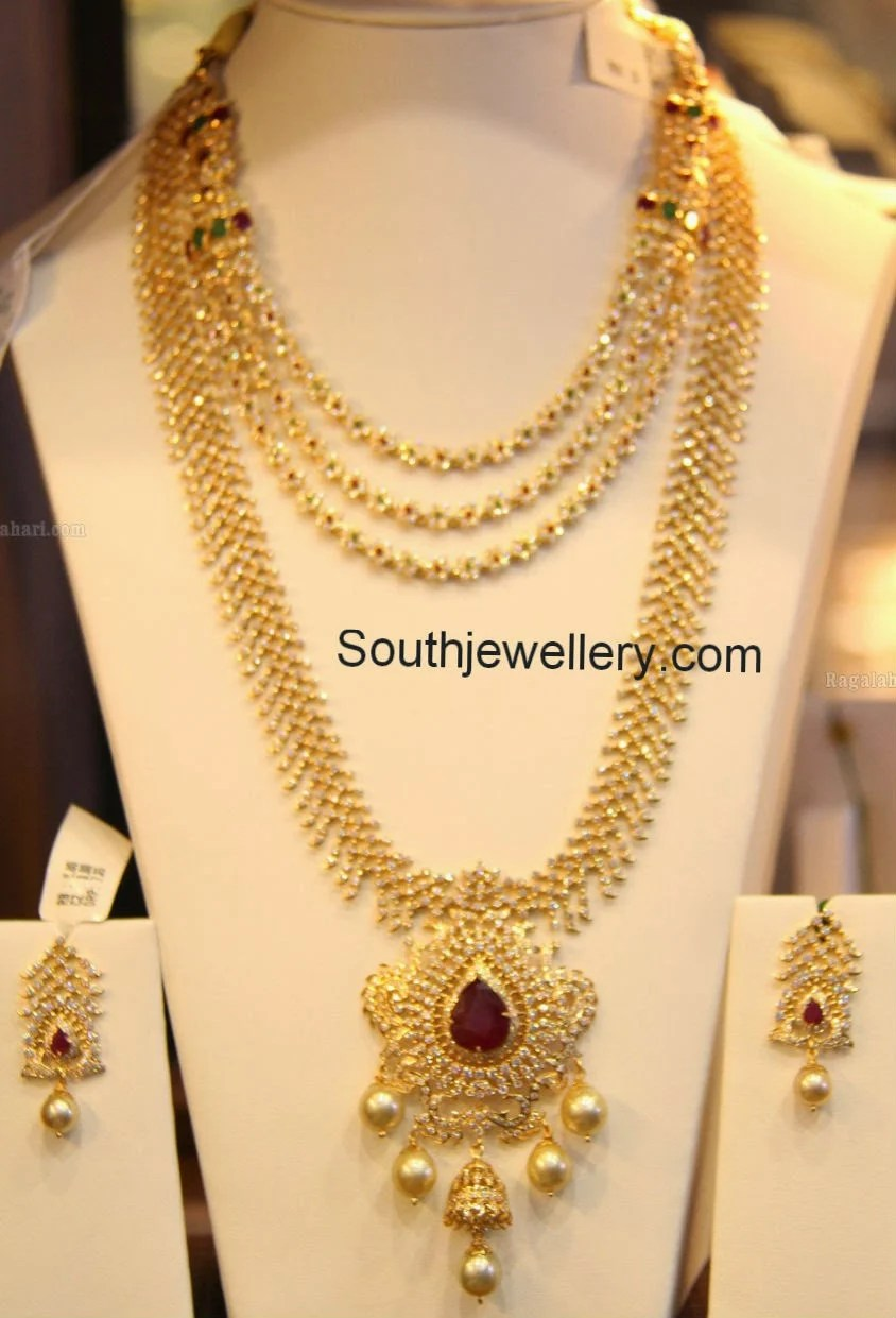 Pachi Floral Diamond Necklace And Diamond Haram