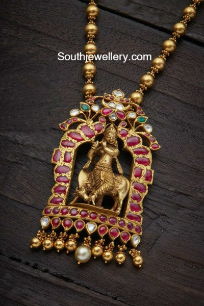 Gold Balls Chain With Lord Krishna Pendant Jewellery Designs