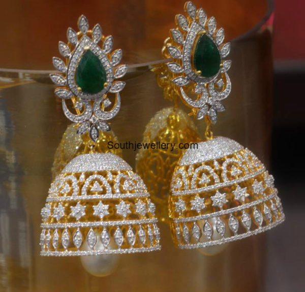 Diamond Emerald Jhumkas Jewellery Designs