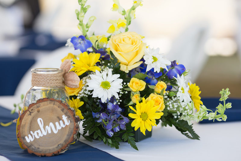 Hand lettered wood slice table markers for rustic wedding by South Ranch Creative. Photograph by Summer Kelley Photography.