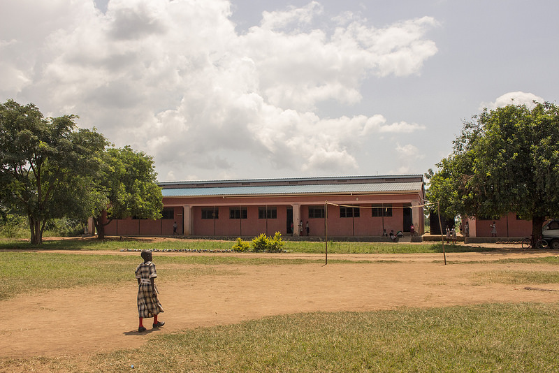 Global Leaders Primary School overlooks its well used soccer field where little grass now grows.