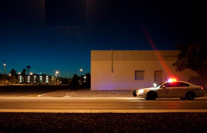 patrol vehicle at night