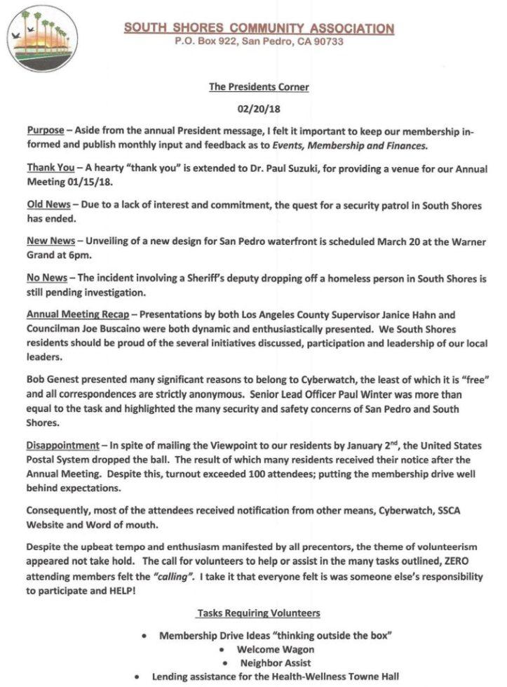 president's corner 02/20/18 page 1