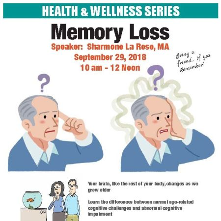 Memory Loss Workshop 9/29/18