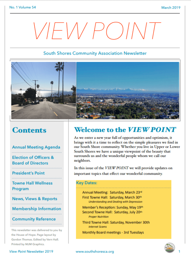 South Shores Community Association's 2019 View Point newsletter