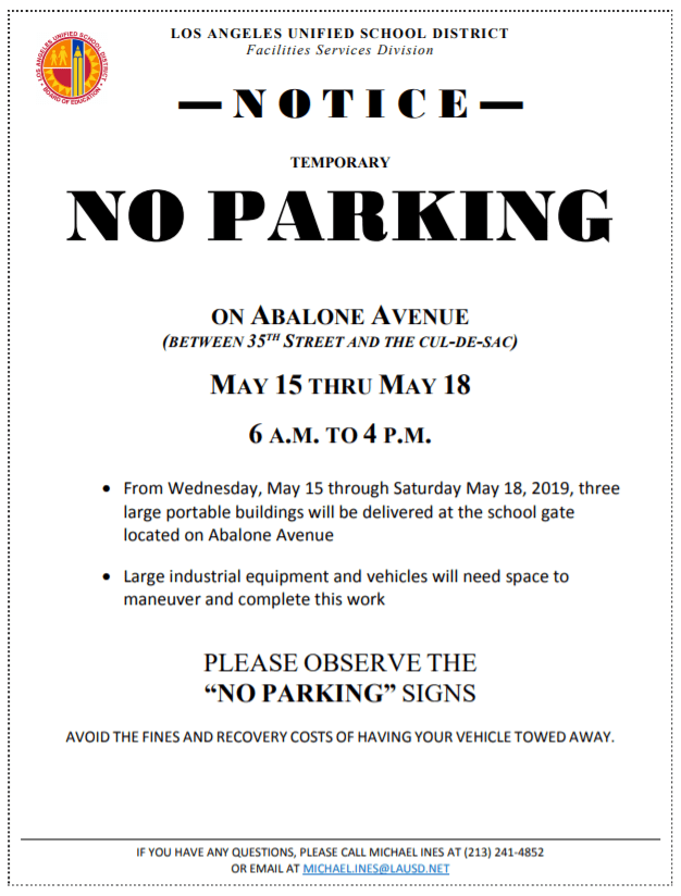 no parking Abalone Ave between 35th St and cul-de-sac, May 15-18, 6am-4pm
