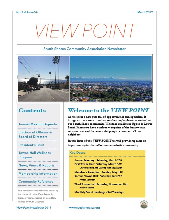 First page of 2019 View Point newsletter