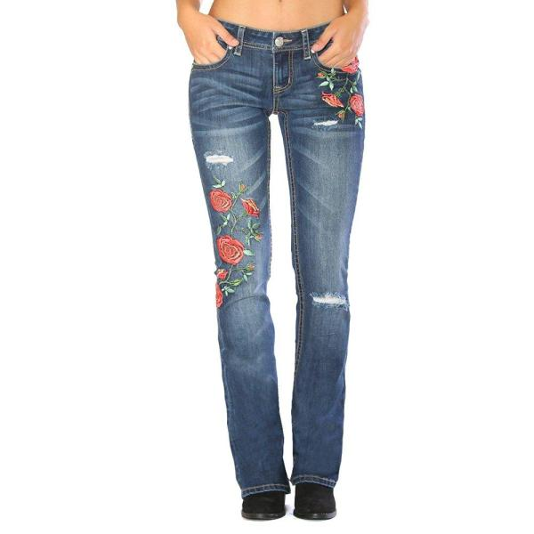 Boot Cut Rose Embroidered Distressed Jeans