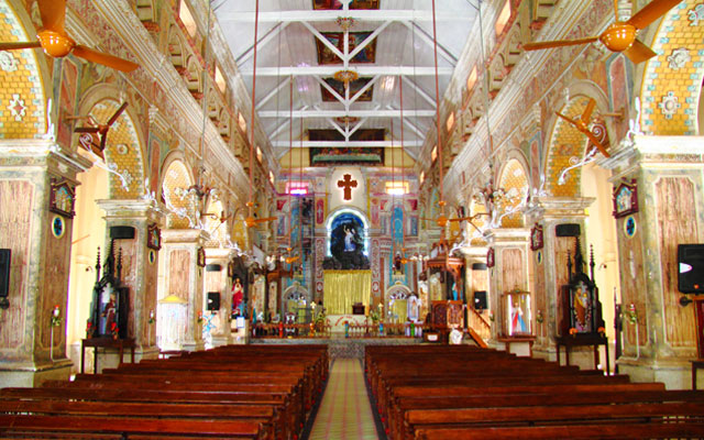 Interior of Santa Cruz Cathedral Basilica at Fort Kochi in Kerala
