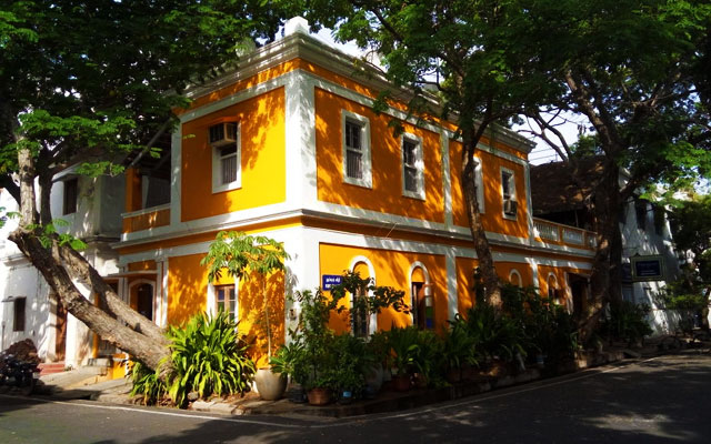 A old french architecture building in Pondicherry french colony.