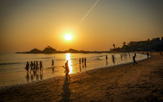 A beautiful view of sunset in Om beach in Gokarna, Karnataka. A beautiful stretch of coast in southwestern India.