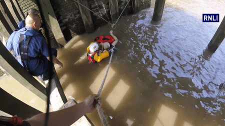 "Tower RNLI helmsman Steve King made the ""rare"" decision to jump into the River Thames to save a man from drowning (RNLI/Tower Lifeboat Station)"