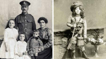 Images of the Fey family (left) and a child dressed up in her father's uniform have been unearthed by The Army Child Archive