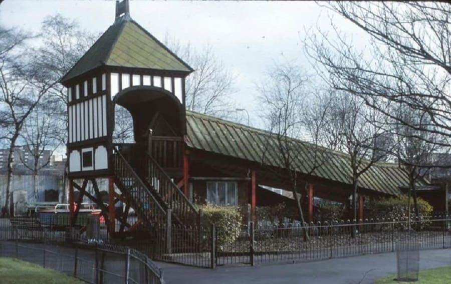The joy slide in later years before it was torn down in the 80s after being vandalised and targeted by arsonists