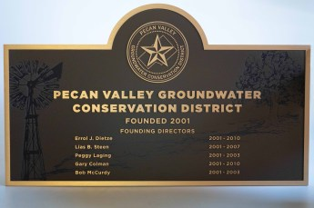 Pecan Valley Etched bronze plaque with digital print art