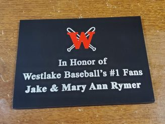 Engraved paint filled aluminum plaque with black polished finish