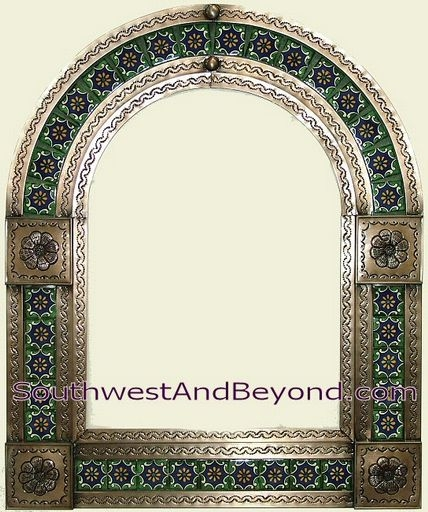 Mexican Arched Tin Framed Mirror With Talavera Tiles Coffee Cream Color