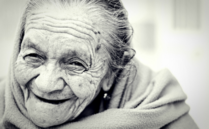 elderly person smiling