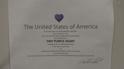 Owen's tiny purple heart