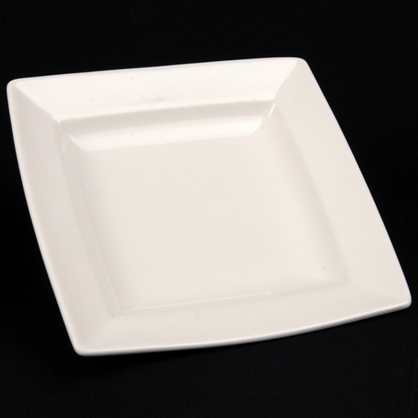 square white china hire plate