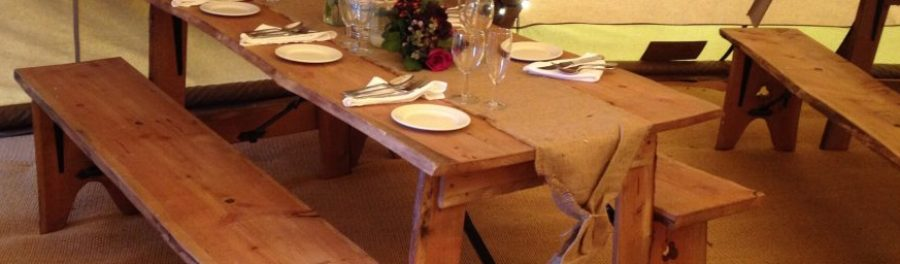 rustic vintage wooden table and bench hire