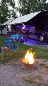 Campfire with a Class A Motorcoach