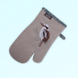 Single oven mitt, insulated. This oven mitt is made with organic cotton featuring an embroidered Kookaburra, trimmed with a blue grey cotton fabric with a hang tie