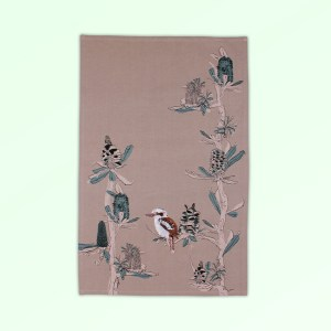 Tea towel with embroidered kookaburra sitting in screen printed banksia trees. The fabric is a natural Australian organic cotton.