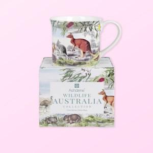 Wildlife Australia Grassland design mug sitting on top of its gift box