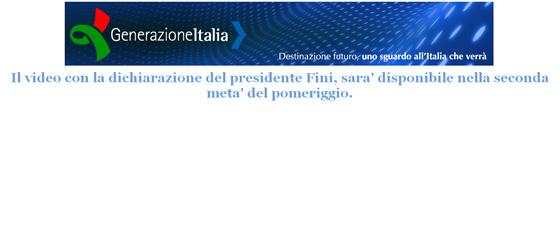 Video Gianfranco Fini screenshot del sito GenerazioneItalia