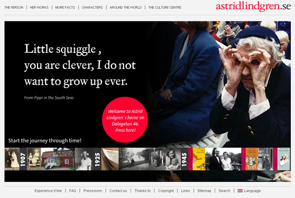 Astrid Lindgren - Screenshot del sito ufficiale