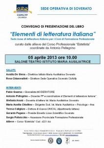"""Presentazione """"Elementi di letteratura italiana"""""""