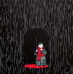 Il bambino sotto la pioggia